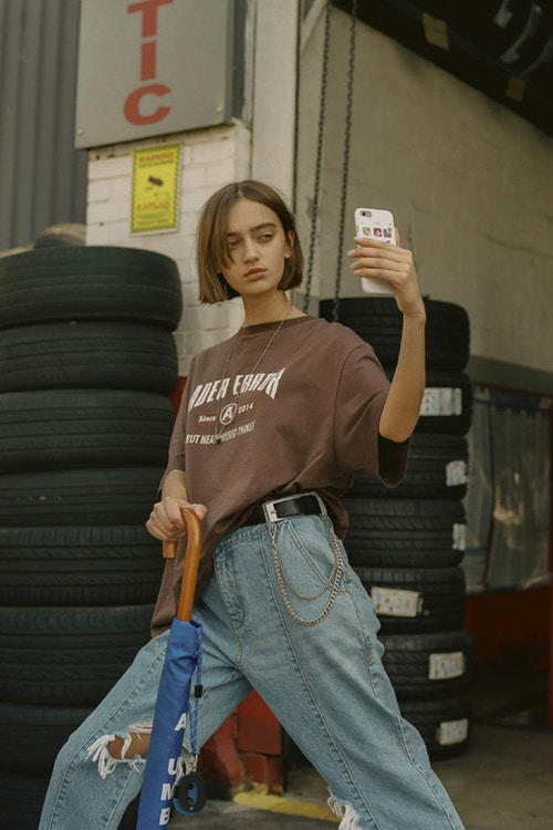 Ader Error Spring/Summer 2018 Collection Campaign Tee Jeans Brown Blue