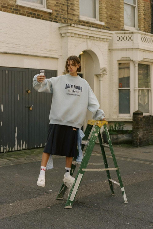 Ader Error Spring/Summer 2018 Collection Campaign Sweater Skirt Grey Black