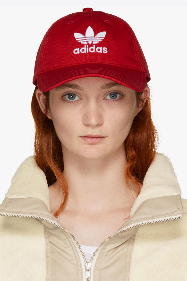 adidas Originals Logo Baseball Cap Pink Black Red