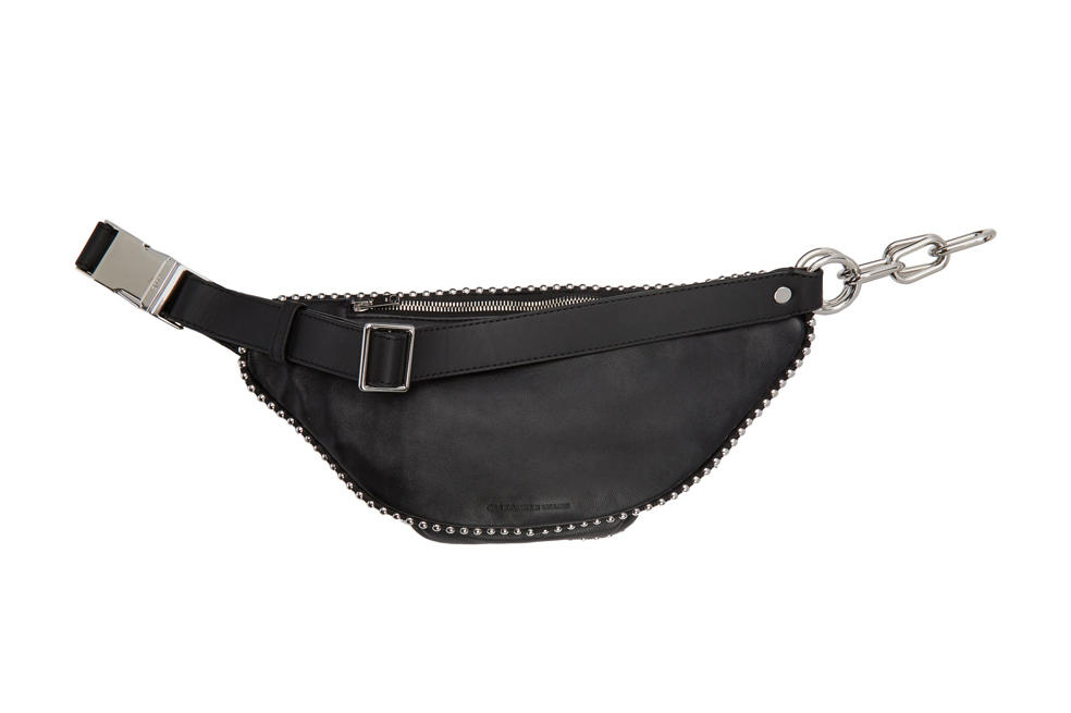 Alexander Wang Edgy Attica Fanny Pack Leather Crossbody Bag Chain Hardware Black Silver