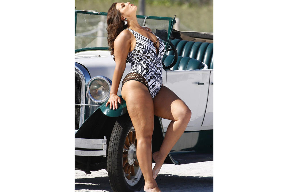 Ashley Graham x Swimsuits for All Power of the Paparazzi Campaign Roaring Black White
