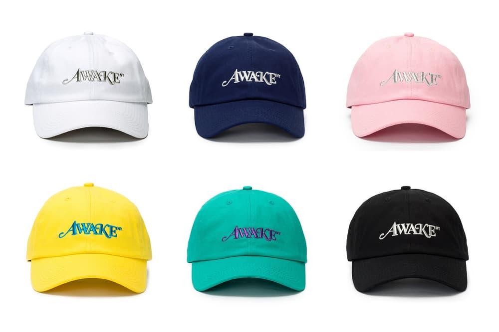 Awake NY Spring/Summer Metallic Logo Hat White Navy Pink Yellow Seafoam Black