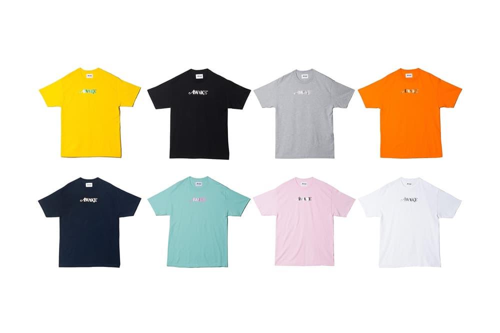 Awake NY Spring/Summer 2018 Metallic Foil Logo Tee Yellow Black Grey Orange Navy Seafoam Pink White