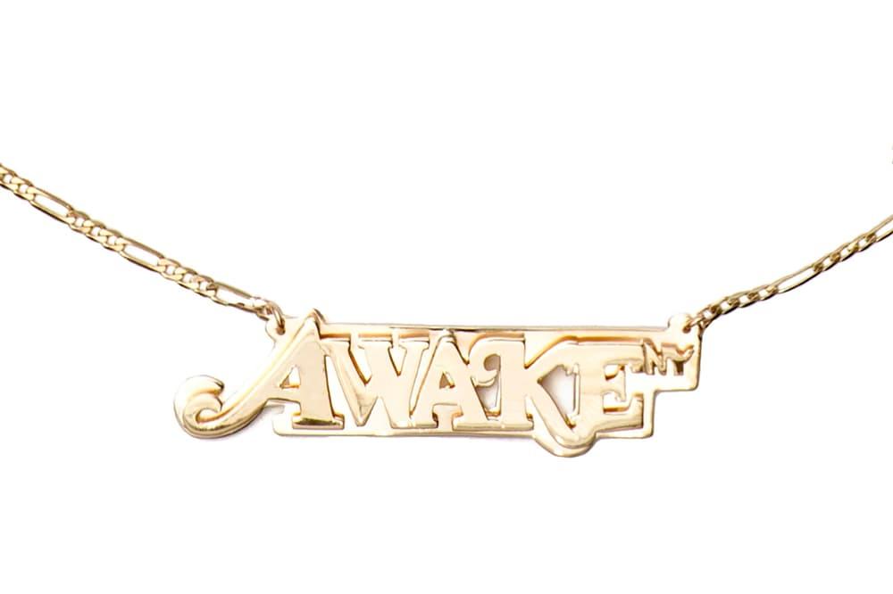 Awake NY Spring/Summer 2018 Logo Nameplate Necklace Gold
