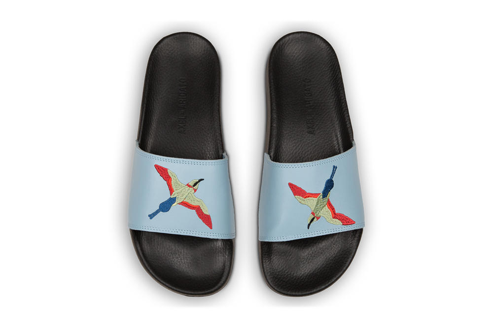 Axel Arigato Tori Bird Embroidered Slides Pastel Pink Blue Black Grey White
