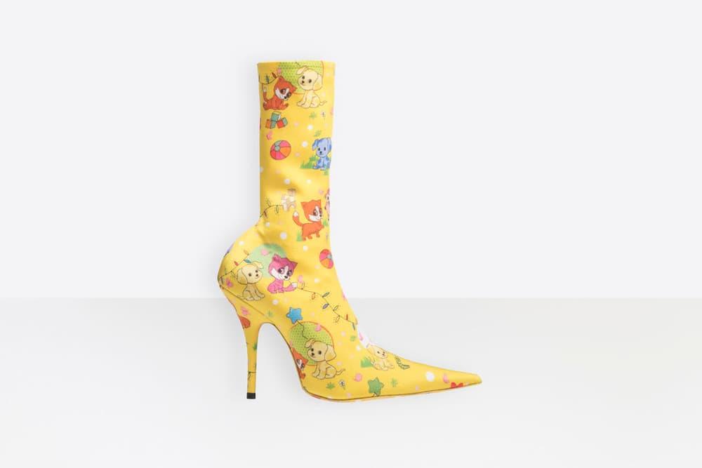 Balenciaga Yellow Puppy Print Calf-High Knife Boots Pre-Order Demna Gvasalia