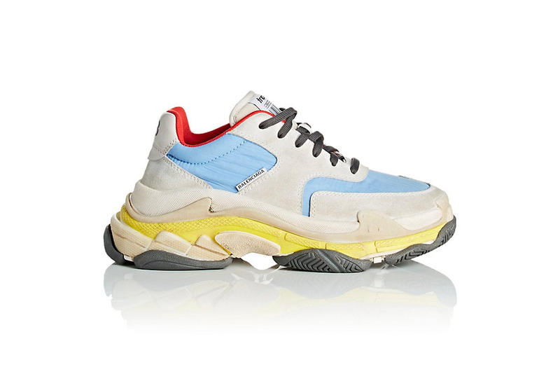 96b2eadba605 Balenciaga Triple-S Sneaker Suede Nylon Pastel Blue Yellow Red Grey Summer  2018 Barneys New