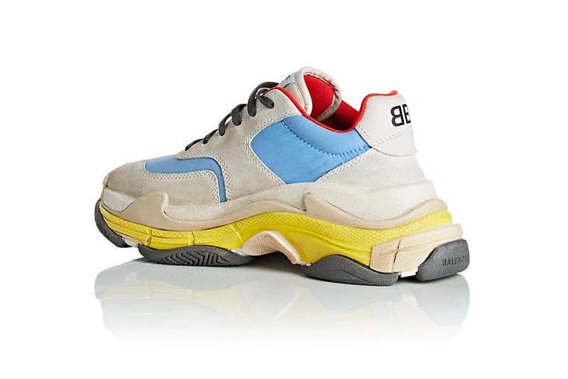 Balenciaga Triple-S Sneaker Suede Nylon Pastel Blue Yellow Red Grey Summer 2018 Barneys New York
