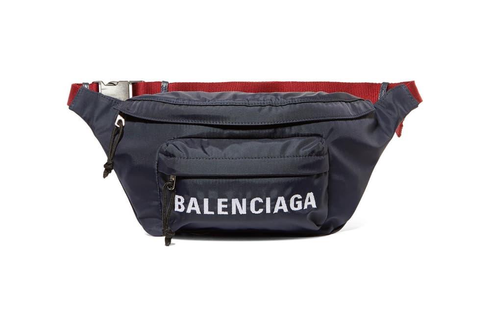 Balenciaga Navy Red Wheel Logo Embroidered Belt Bag Fanny Pack