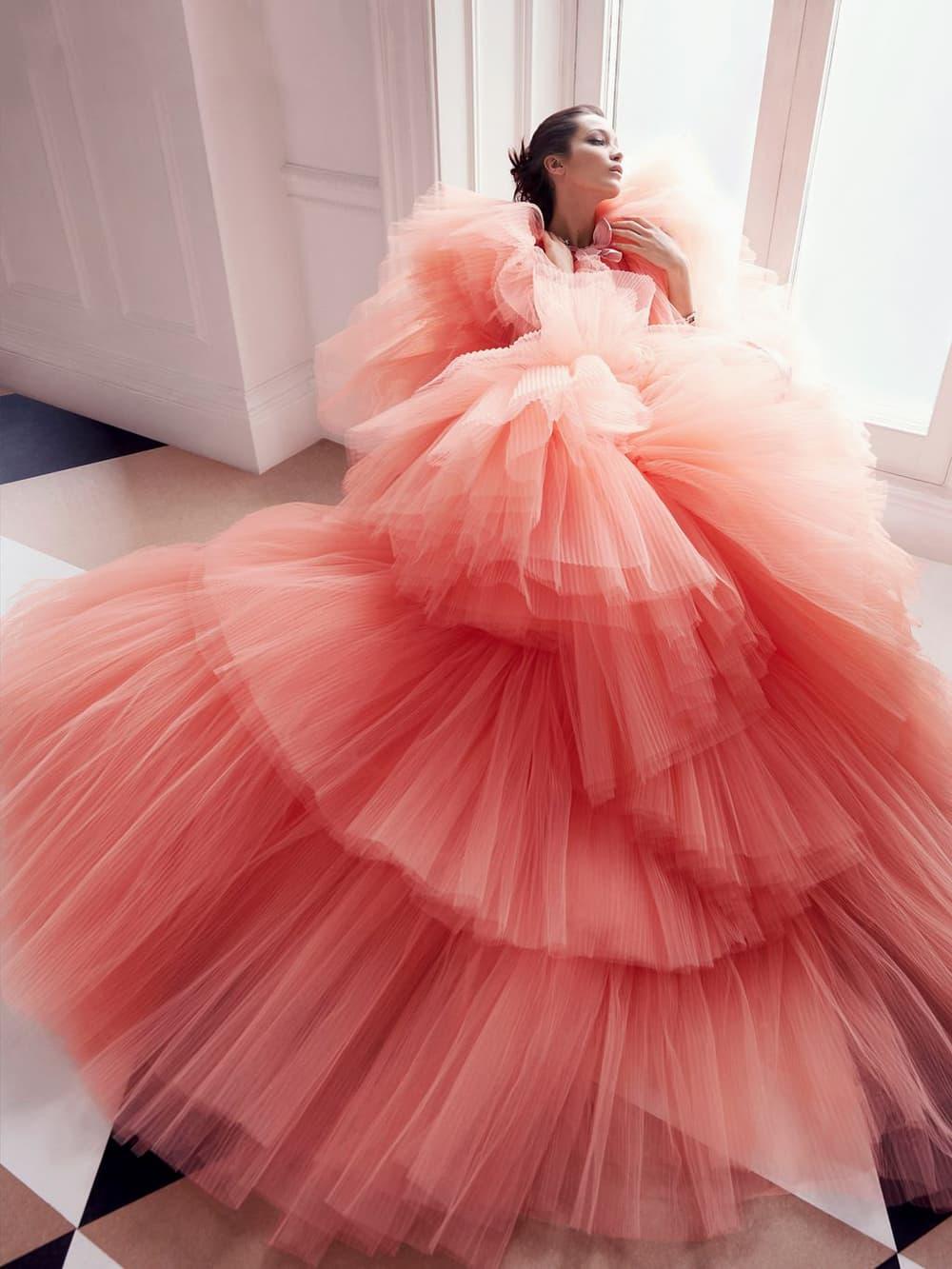 Bella Hadid Harper's Bazaar June July 2018 Pink Tulle Dress Gown