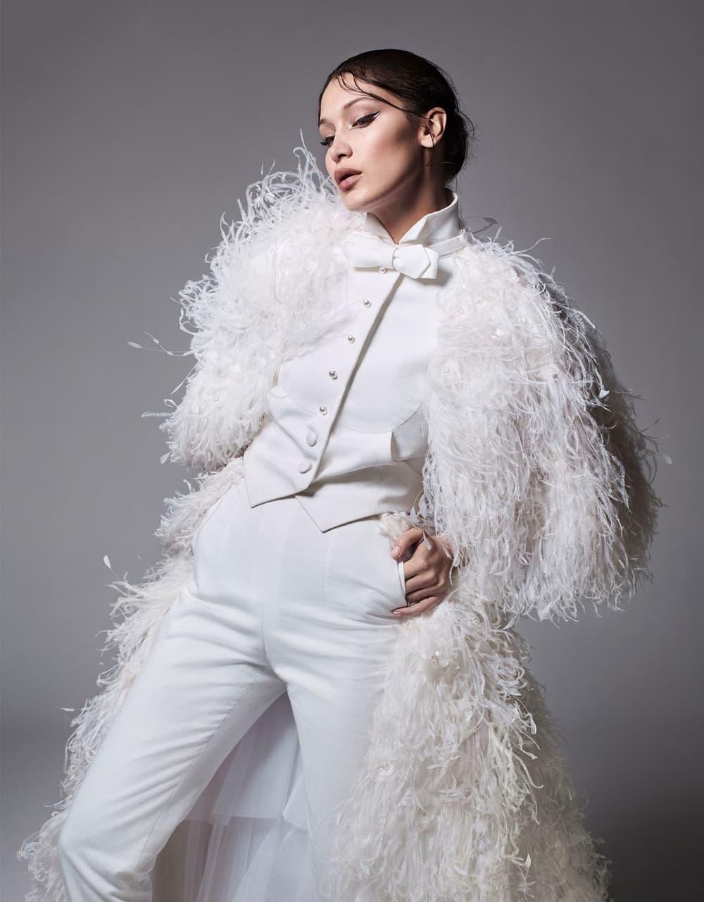 Bella Hadid Harper's Bazaar June July 2018 Chanel Haute Couture White Suit