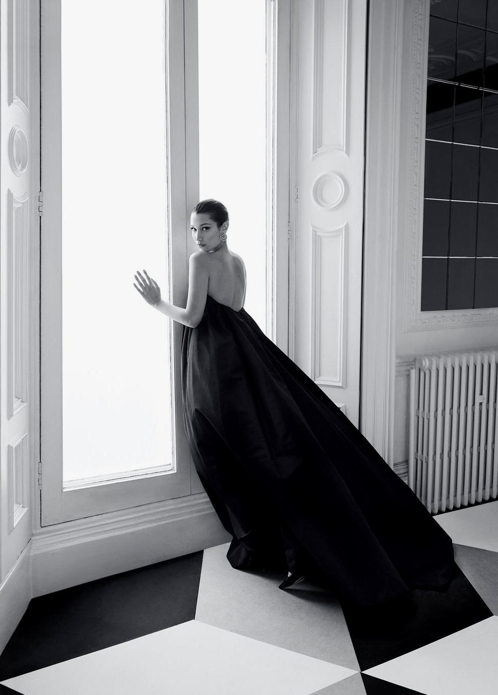 Bella Hadid Harper's Bazaar June July 2018 Givenchy Haute Couture Black Gown Dress