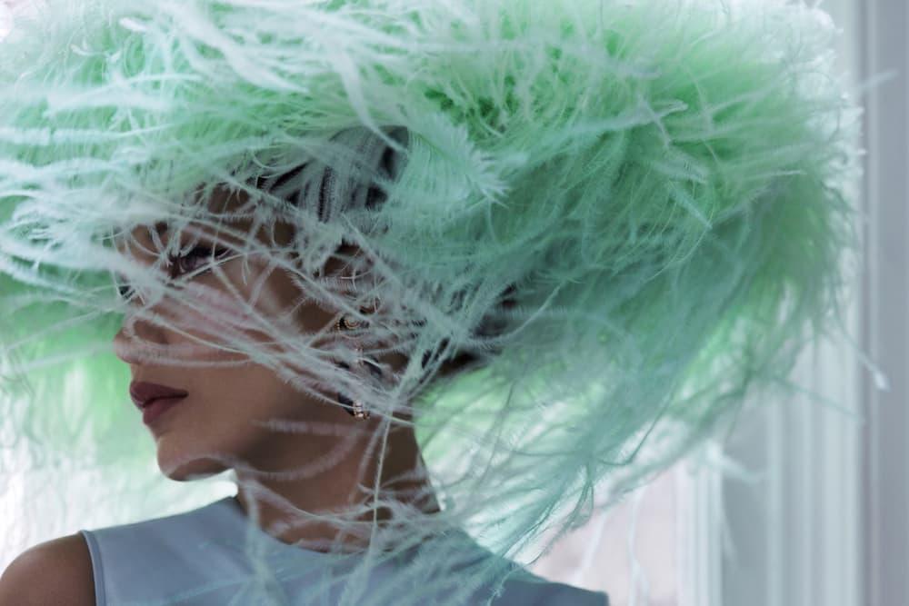 Bella Hadid Harper's Bazaar June July 2018 Valentino Haute Couture Headpiece Green