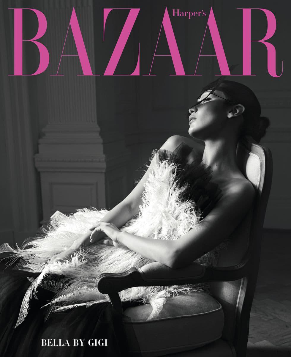 Bella Hadid Harper's Bazaar June July 2018 Cover Black White Dior Haute Couture