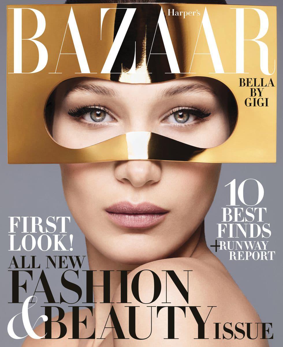 Bella Hadid Harper's Bazaar June July 2018 Dior Haute Couture Mask Gold