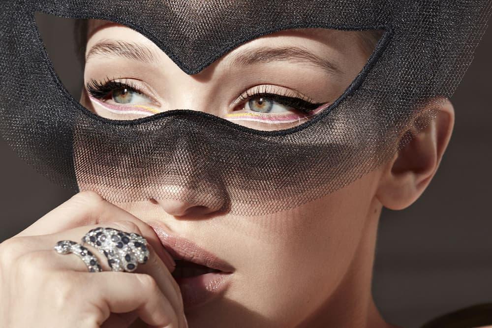 Bella Hadid Harper's Bazaar June July 2018 Dior Haute Couture Mask Makeup Eyeliner