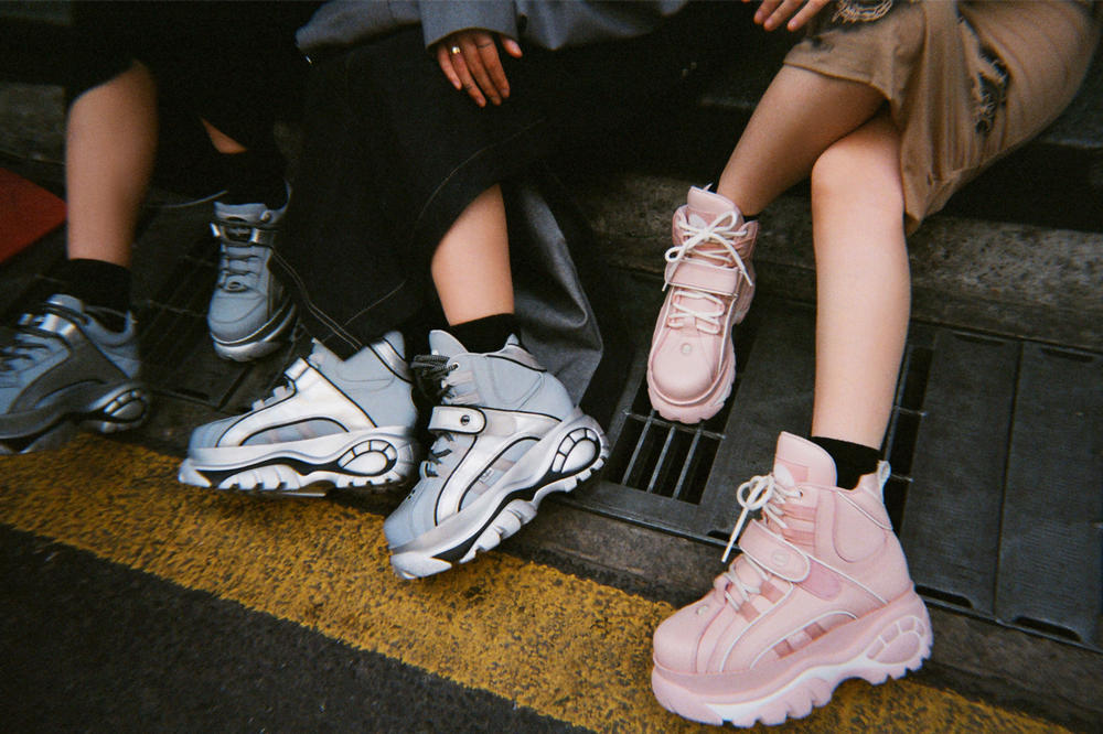 Buffalo London Opening Ceremony Platform Sneakers Low-Top High-Top Baby Pink Metallic Silver Editorial