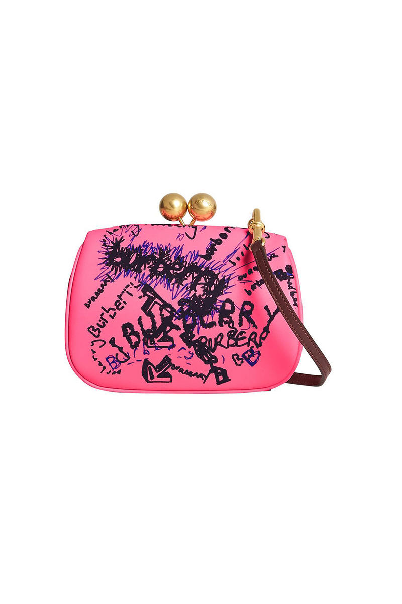 burberry neon pink doodle print clutch bag detachable strap gold hardware