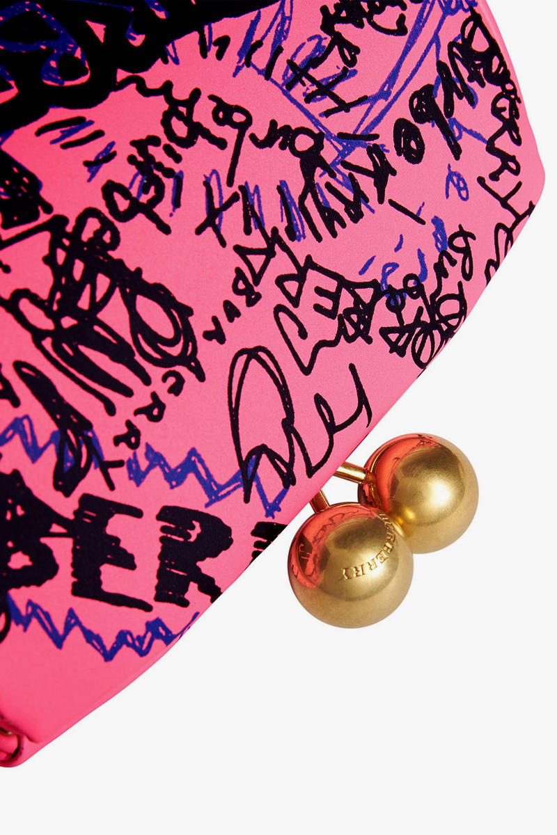 burberry neon pink doodle print clutch bag gold hardware clasp fastener
