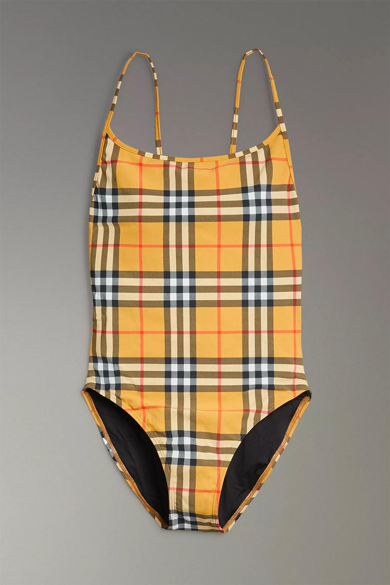 Burberry Vintage Nova Check Bikini Swimsuit Bathing Suit One Piece Brown