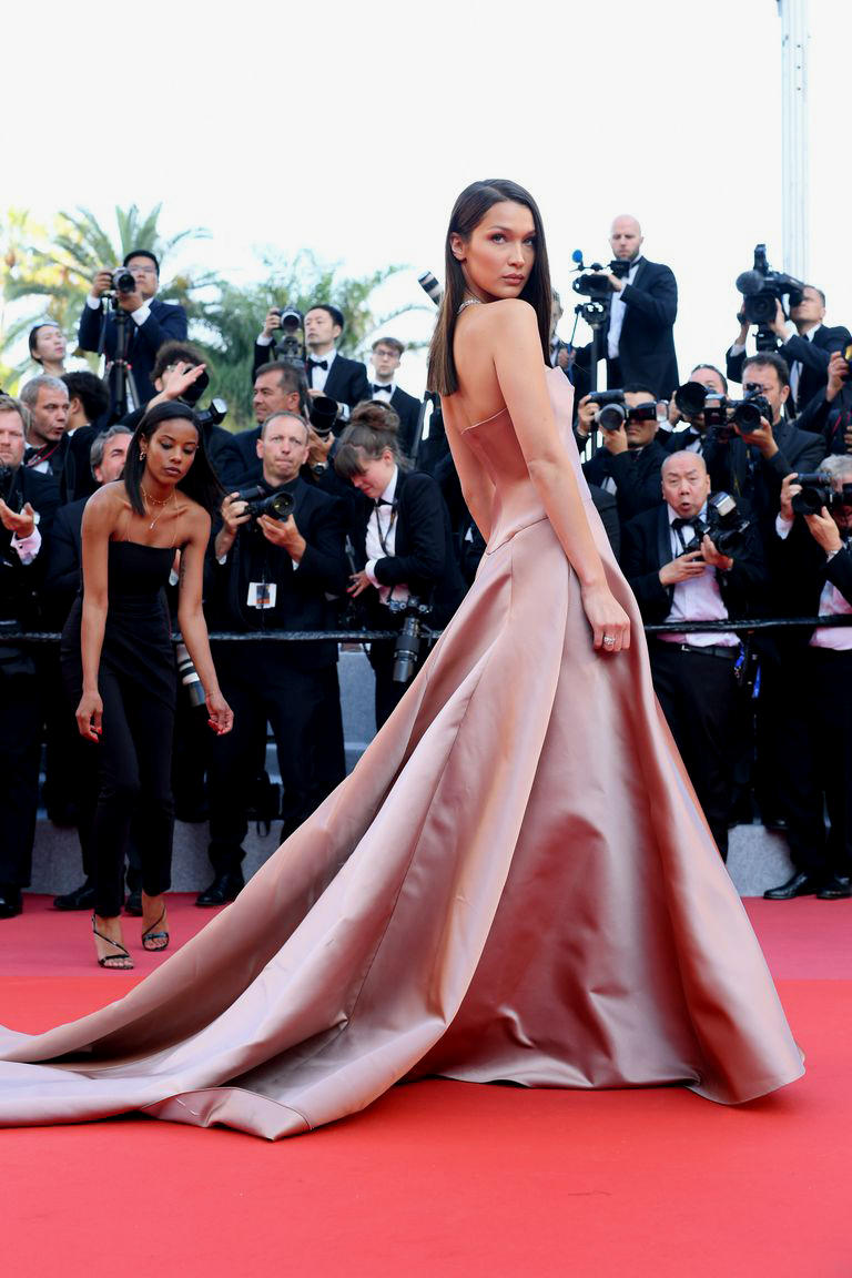 2018 Cannes Film Festival Bella Hadid Dior Gown Pink