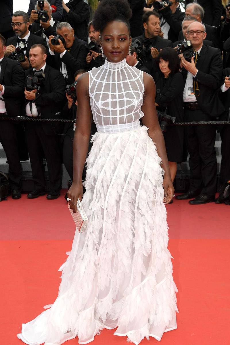 2018 Cannes Film Festival Lupita Nyong'o Christian Dior Gown White