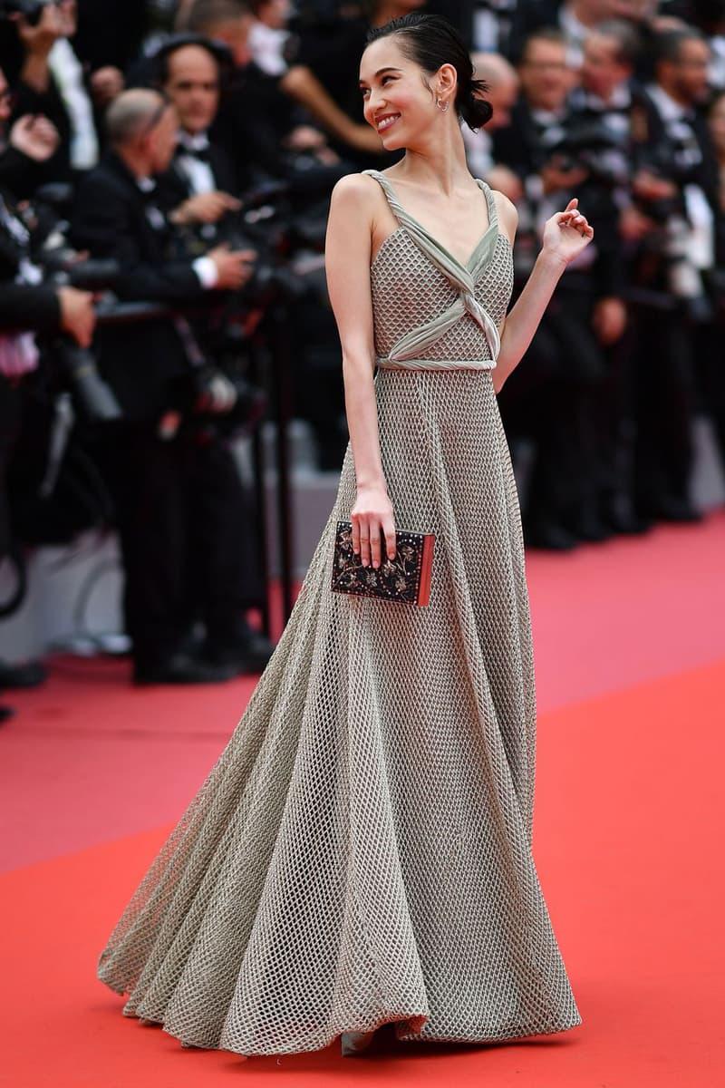 2018 Cannes Film Festival Kiko Mizuhara Dior Gown Silver