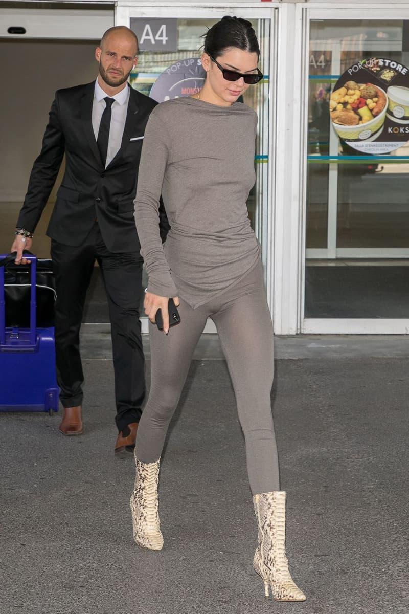2018 Cannes Film Festival Kendall Jenner Shirt Leggings Snakeskin Boots Grey White