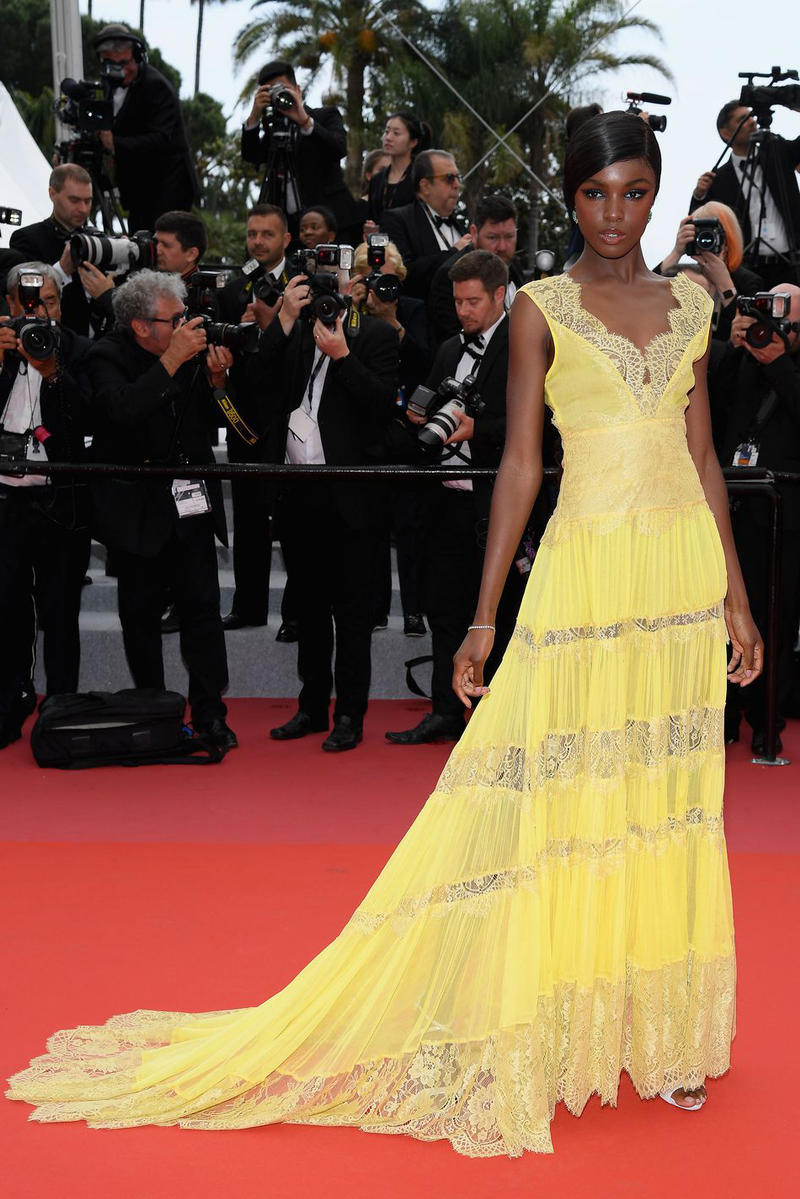 2018 Cannes Film Festival Leomie Anderson Twinset Official Gown Yellow