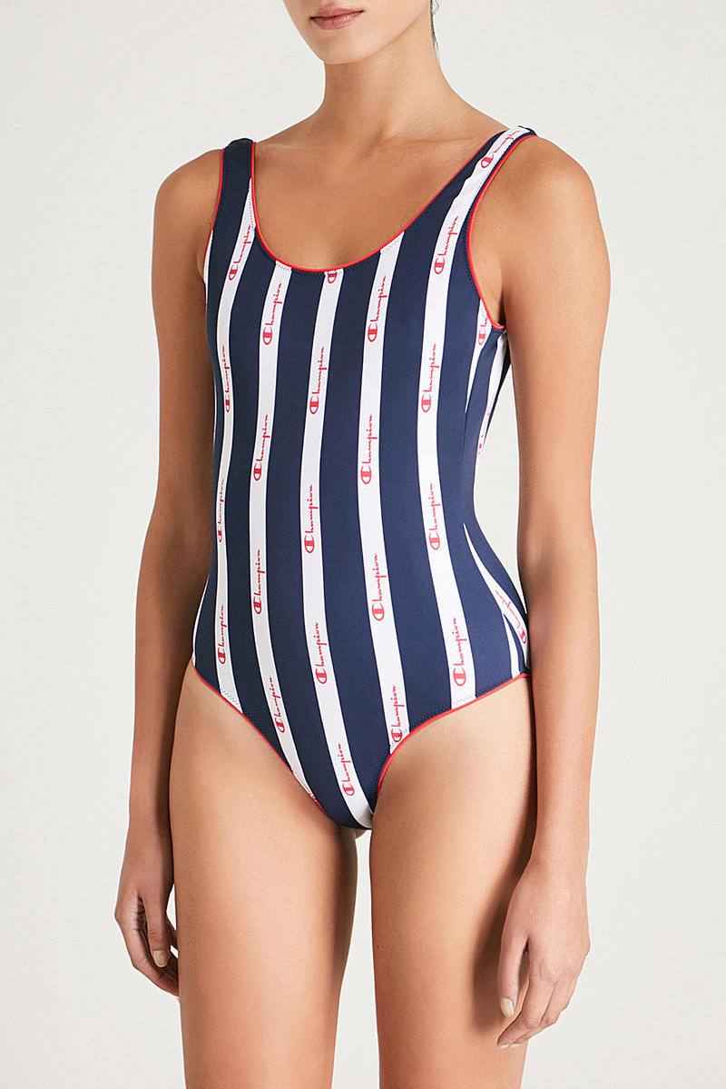 Champion Blue and White Striped Logo Swimsuit