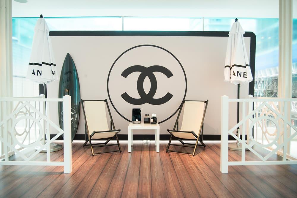 Chanel Beauty LES BEIGES À LA PLAGE Vancouver Pop-Up Store Makeup Holt Renfrew Photo Booth Logo Surfboard Lounge Chair