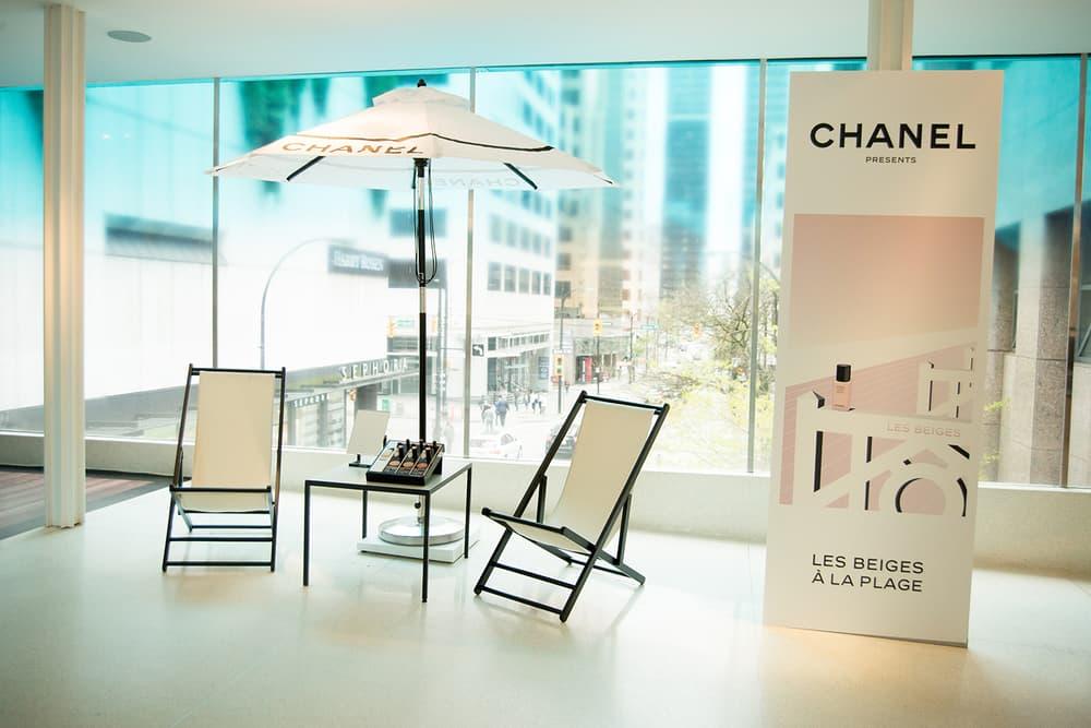 Chanel Beauty Lipsticks LES BEIGES À LA PLAGE Vancouver Pop-Up Store Makeup Holt Renfrew Lounge Chair Umbrella
