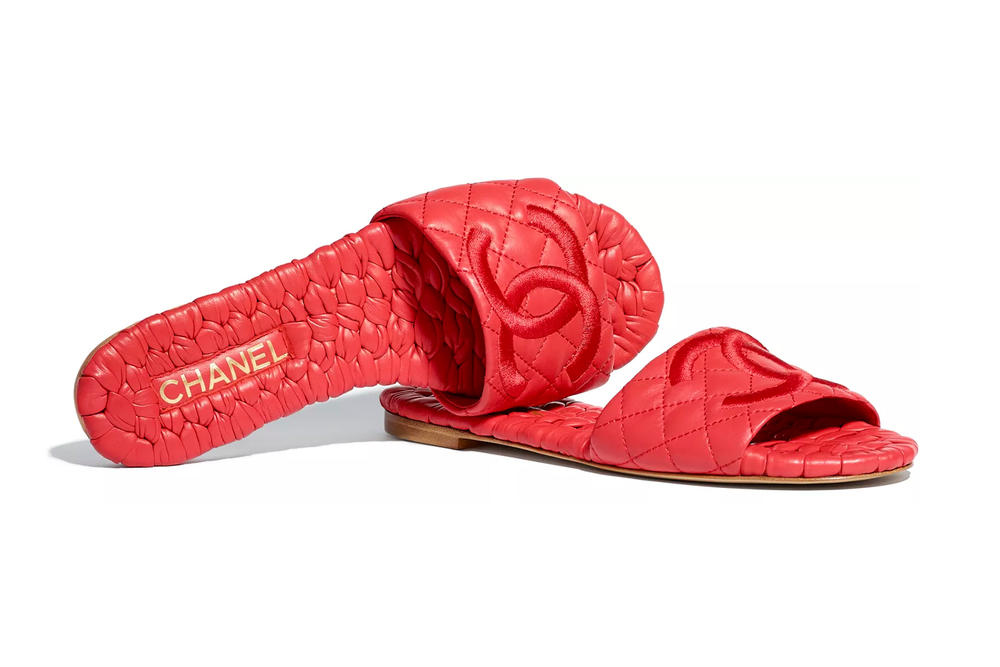 557536851b9f Chanel Quilted Double C Logo Mule Slides Red Black Grey Lambskin