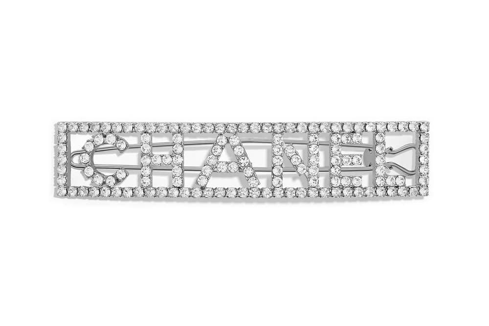 Chanel Silver Crystal Diamante Logo Hair Clip