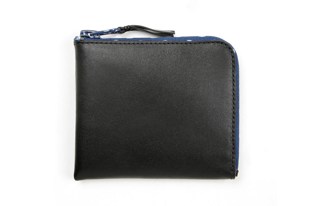 COMME des GARÇONS Leather Wallet Black Polka Dot White Blue