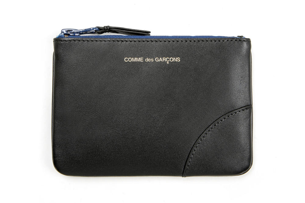 COMME des GARÇONS Leather Medium Pouch Black Blue