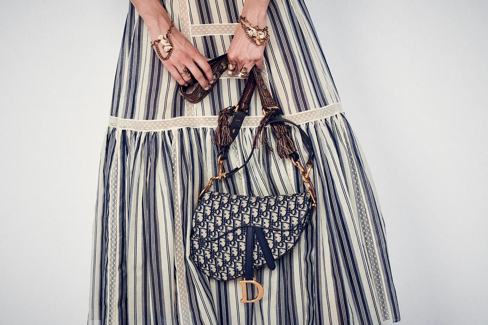 Dior Cruise 2019 Resort Runway Backstage Saddle Bag Logo Pattern