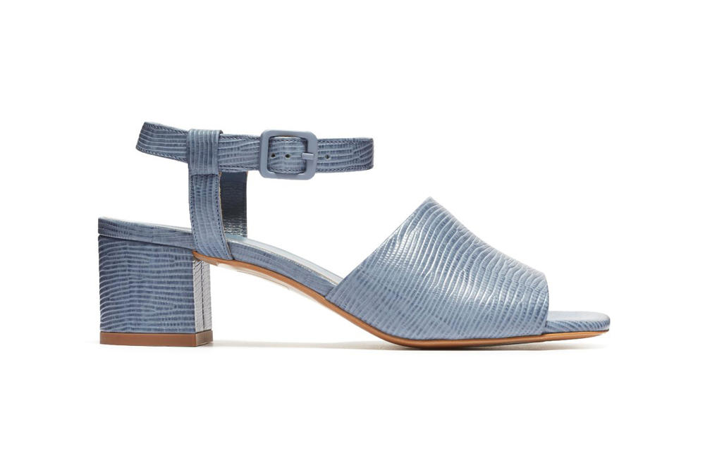 Everlane Block Heel Sandal Dusty Blue Lizard