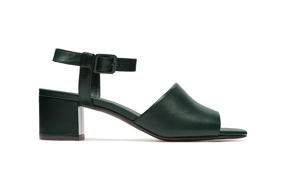 Everlane Block Heel Sandal Dark Green