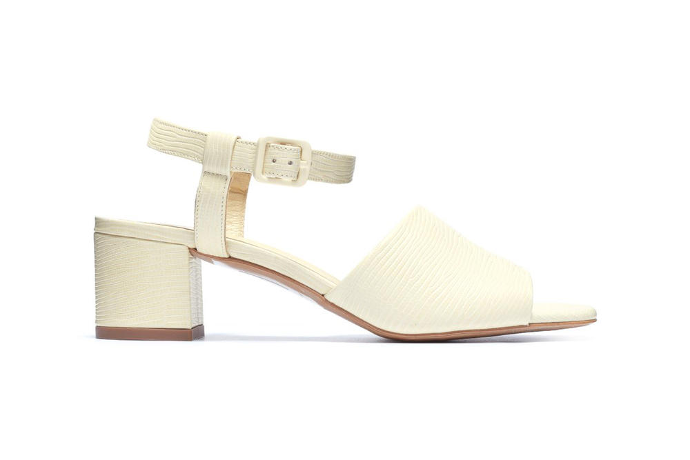 Everlane Block Heel Sandal Cream Lizard