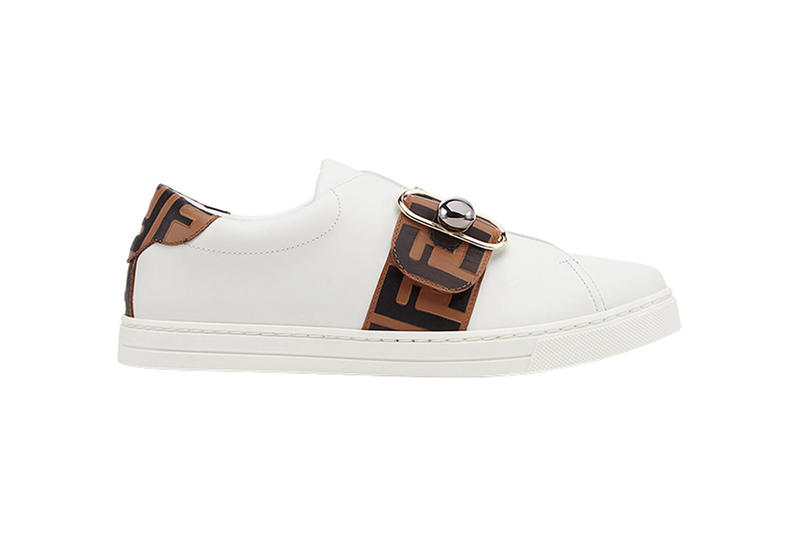 fendi ff band sneakers minimalist leather side profile brown black white