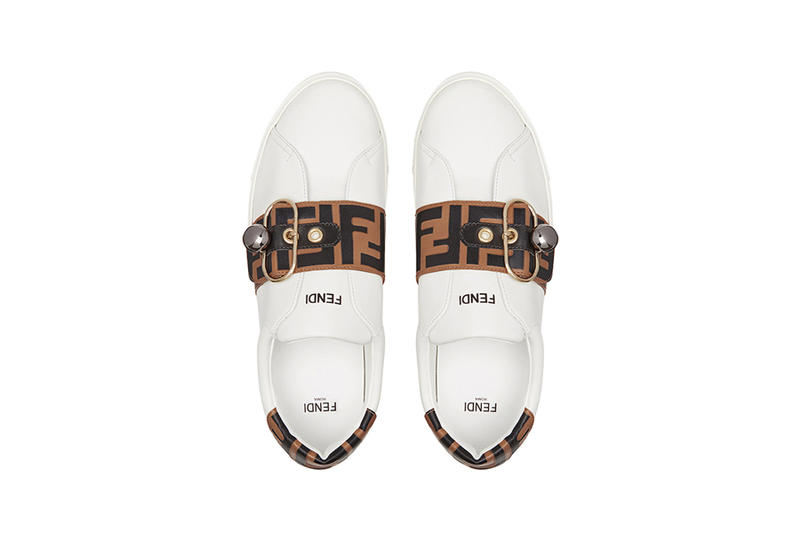 fendi ff band sneakers minimalist leather insole top view white brown black strap