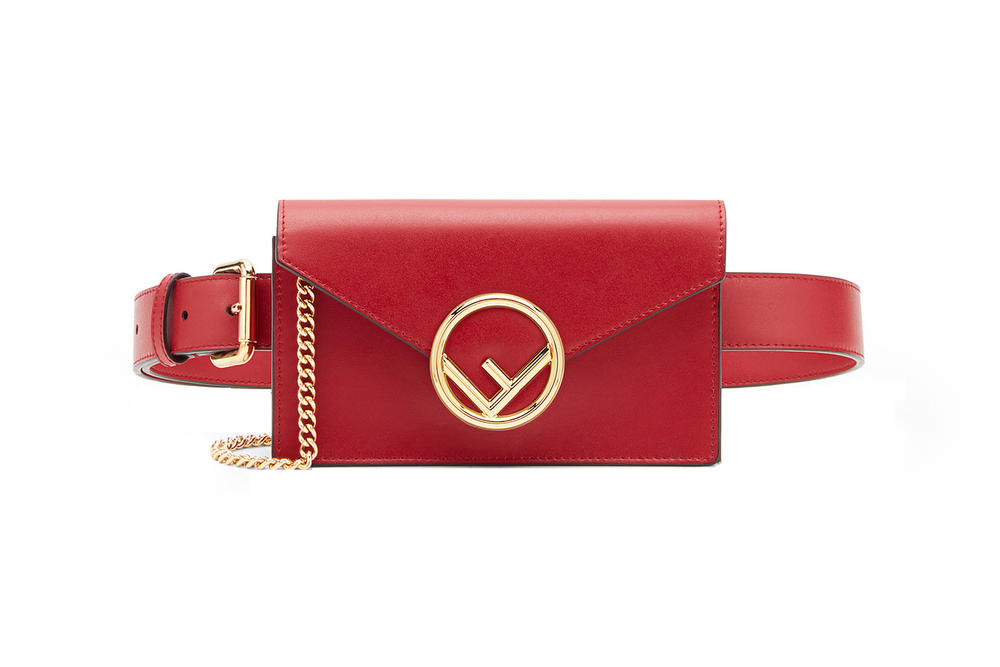 Fendi Leather Belt Bag Red
