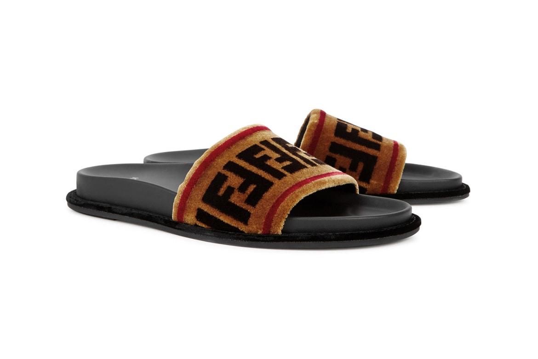 19aabaf78de Where to Buy Fendi's Velvet Double F Logo Slides | HYPEBAE