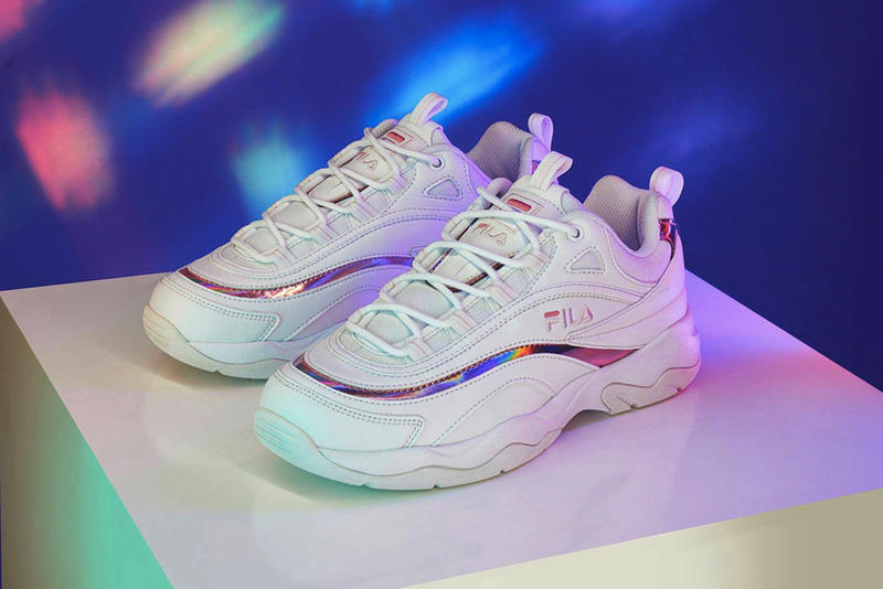 FILA Chunky Ray Holographic Pink Prism White Dad Shoe Sneakers