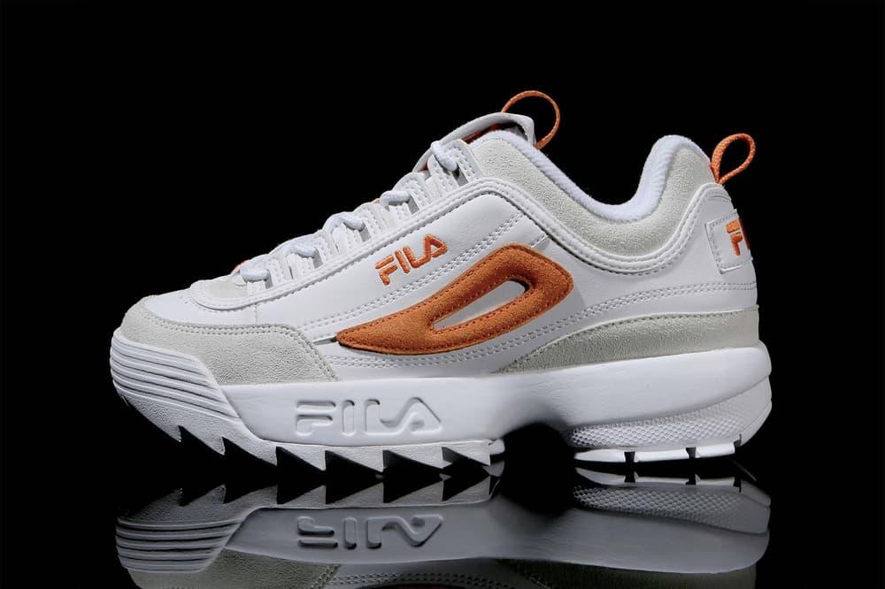 FILA Korea Disruptor 2 Point Sneakers White Pink Orange Suede