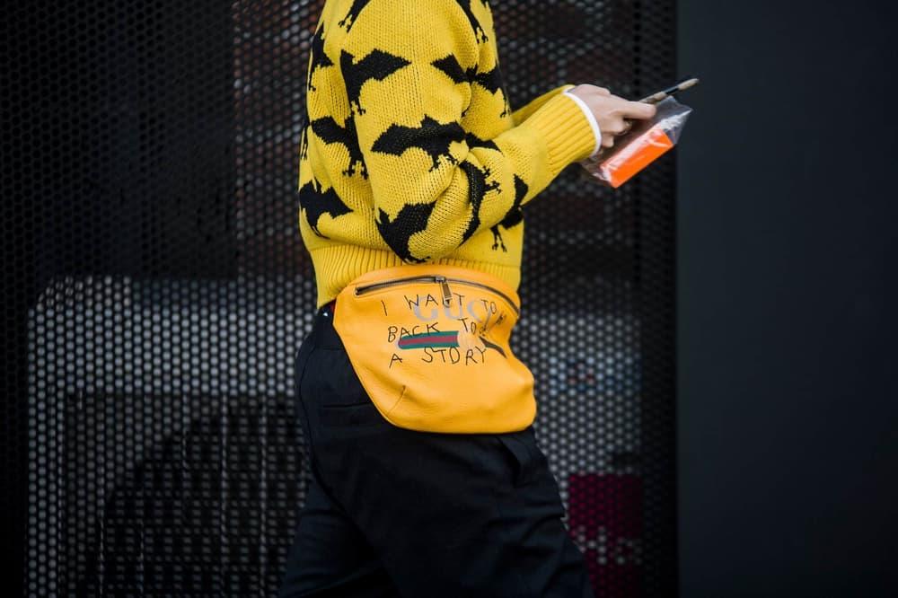 Gen Z Yellow Bat Sweater Knit Gucci Fanny Pack Belt Bag Fashion Week Street Style