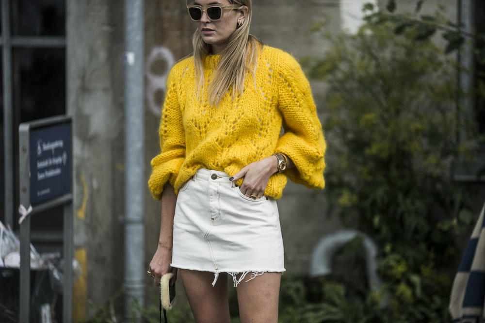 Gen Z Yellow Knit Sweater White Denim Skirt Street Style