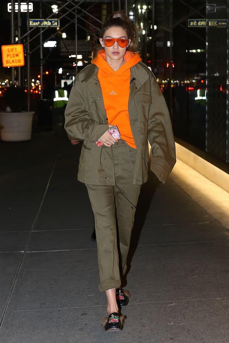 Gigi Hadid Holzweiler Hanger Hoodie Black Burgundy Orange