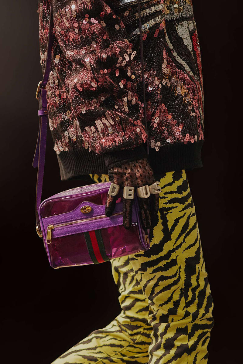 041f2091f51 Gucci Cruise 2019 Runway Details PVC Ophidia Bag Purple Yellow Pants Sequin